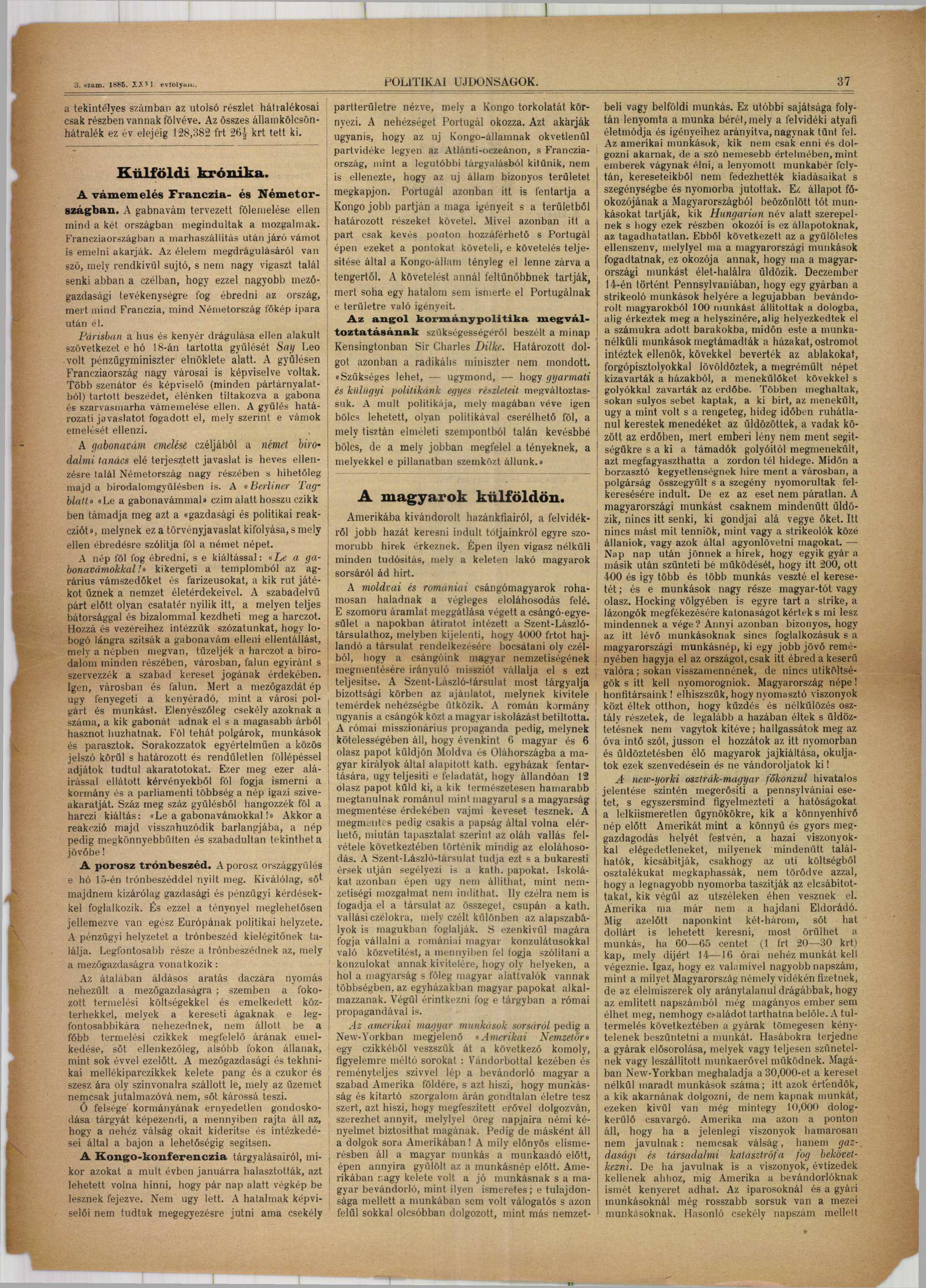 A magyarok külföldön (1885) 1